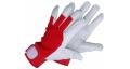 Pirštinės odinės baltos su  raudonu viršumi