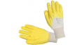 Pirštinės trikotažinės baltos, aplietos geltonu nitrilu